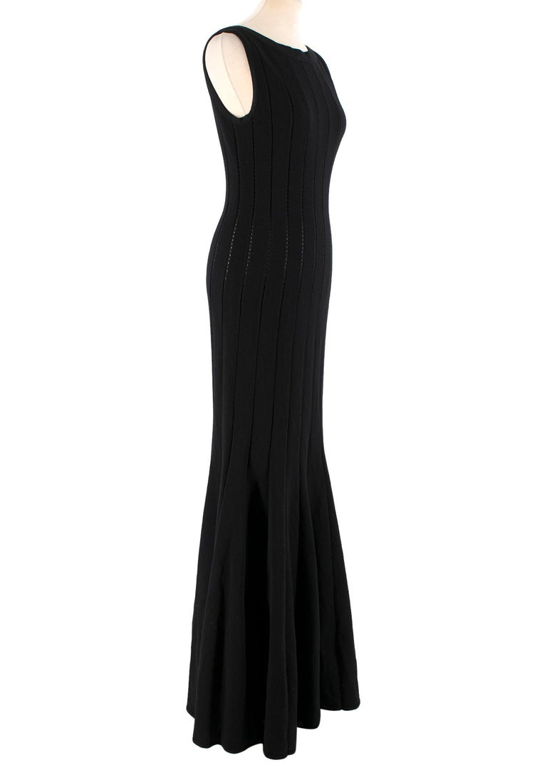 Alaia Black Maxi Fishtail Dress  -Black maxi dress -Panelled dress with sheer crochet in between -Sleeveless  -Wide boat neckline -Back zip closure  Please note, these items are pre-owned and may show signs of being stored even when unworn and