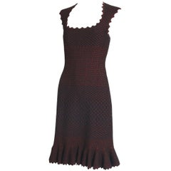 Alaia Black & Metallic Red Lattice Pattern Bodycon Mini Dress w/Flounced Hem