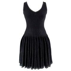 Alaia Black Metallic Striped Knit Pleated Dress S 38