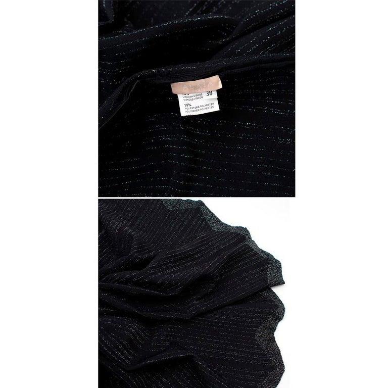Alaia Black Metallic Striped Knit Pleated Dress Size 6 For Sale 6