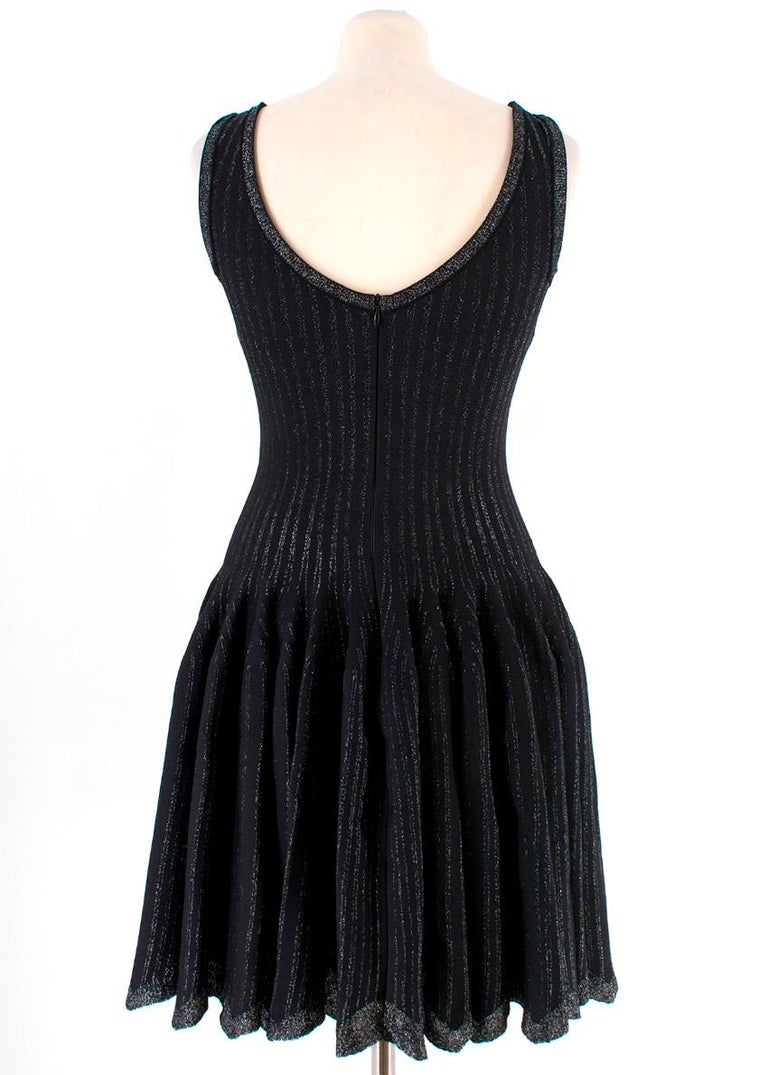 Alaia Black Metallic Striped Knit Pleated Dress Size 6 In Excellent Condition For Sale In London, GB