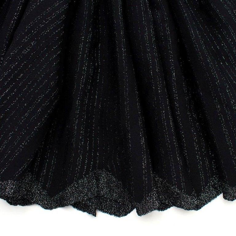 Alaia Black Metallic Striped Knit Pleated Dress Size 6 For Sale 2