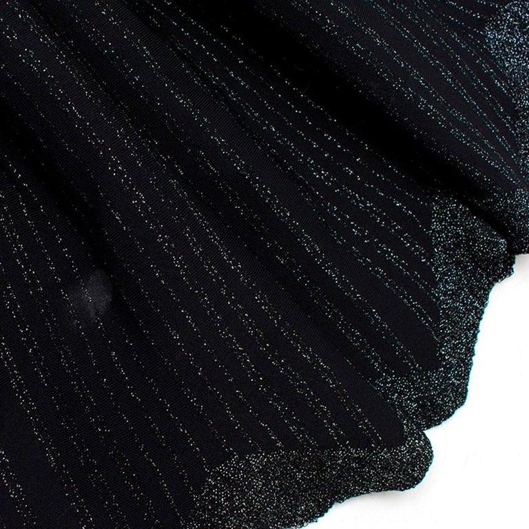 Alaia Black Metallic Striped Knit Pleated Dress Size 6 For Sale 3
