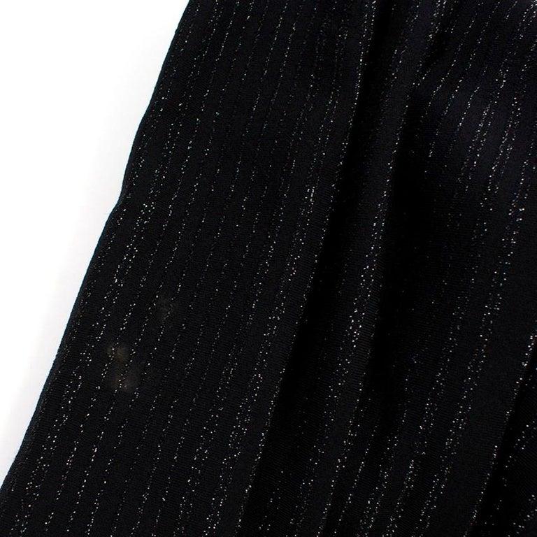 Alaia Black Metallic Striped Knit Pleated Dress Size 6 For Sale 4