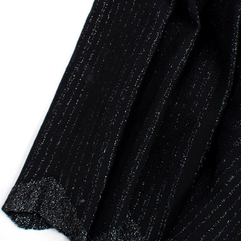 Alaia Black Metallic Striped Knit Pleated Dress Size 6 For Sale 5