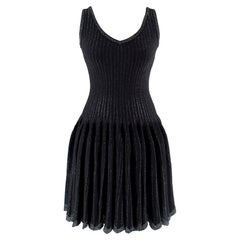 Alaia Black Metallic Striped Knit Pleated Dress Size 6