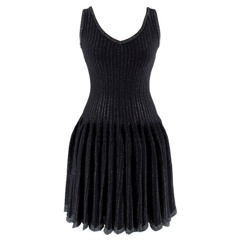 Alaia Black Metallic Striped Knit Pleated Dress Size 6 For Sale