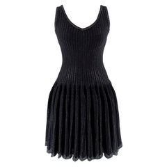 Alaia Black Metallic Striped Knit Pleated Dress - Size US6