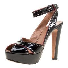 Alaia Black Patent Leather Criss Cross Ankle Strap Platform Sandals Size 38.5