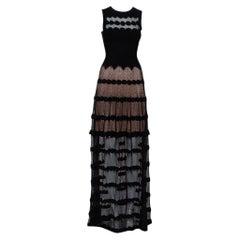 Alaia Black Perforated Knit Sleeveless Maxi Dress S