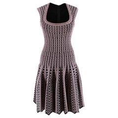 Alaia Black & Pink Stretch Knit Scalloped Dress - Size US 4