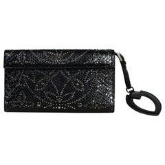 Alaia Black Python Studded Clutch Bag w/ Mirror
