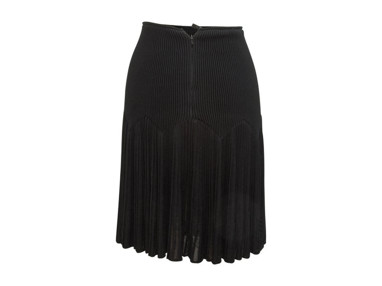 Alaia Black Ribbed Knit Skirt In Good Condition For Sale In New York, NY