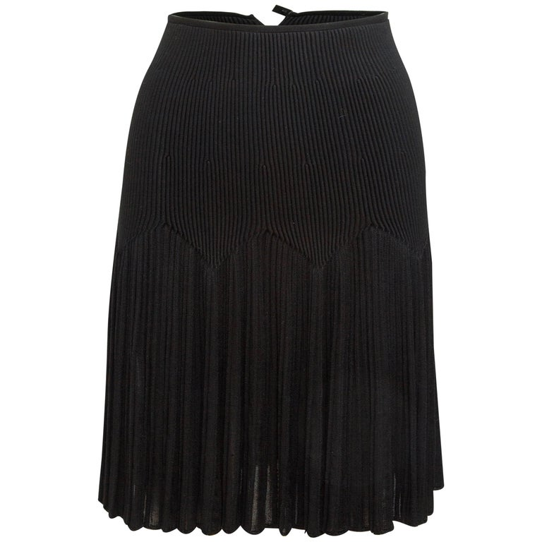 Alaia Black Ribbed Knit Skirt For Sale