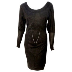 Alaia Black Sheer Jersey Long Sleeve Scoop neck Dress, Circa 1990's