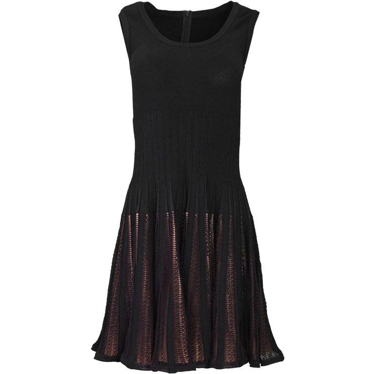 Alaia Black Skater Dress with Nude Underlay Sz FR40