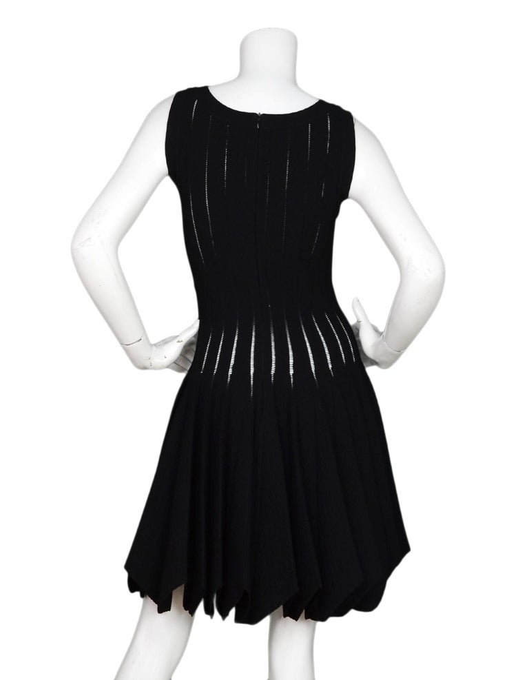 Alaia Black Sleeveless Uneven Hem Skater Dress Sz 40 In Excellent Condition For Sale In New York, NY
