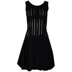 Alaia Black Sleeveless Uneven Hem Skater Dress Sz 40