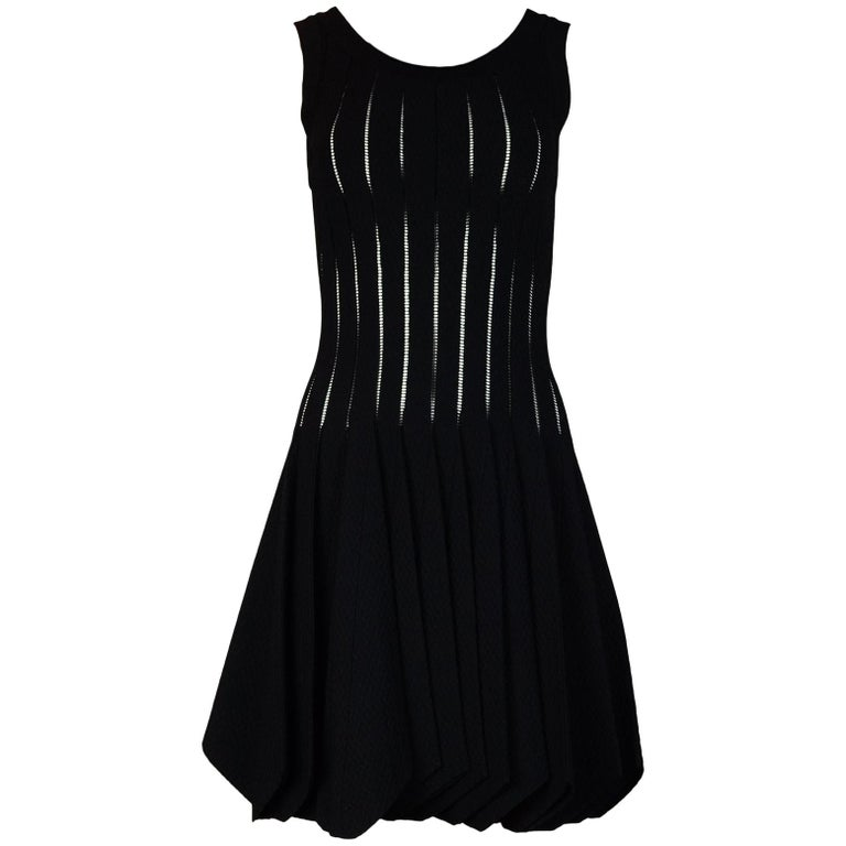 Alaia Black Sleeveless Uneven Hem Skater Dress Sz 40 For Sale