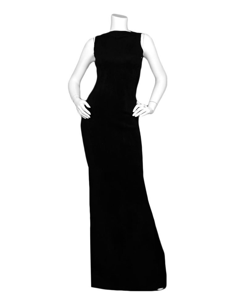 Alaia Black Sleeveless Velvet Gown sz FR 38  Made In: Italy Color: Black Materials: 35% Fleece Wool, 35% Viscose, 25% Nyon, 5% Polyester Lining: 35% Fleece Wool, 35% Viscose, 25% Nyon, 5% Polyester Opening/Closure: Back zip Overall Condition: