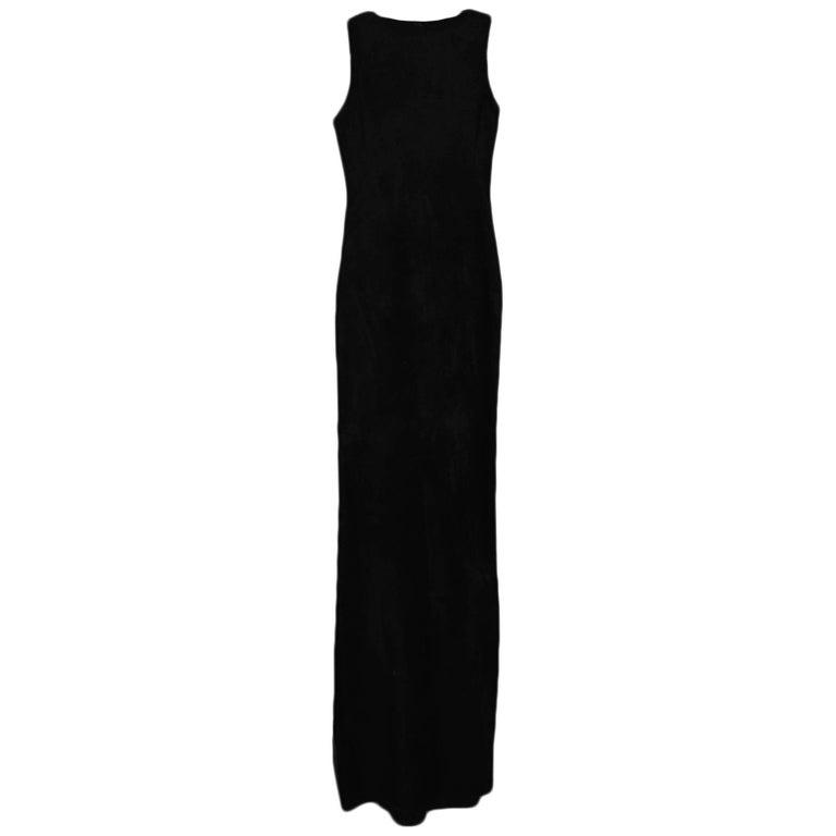 Alaia Black Sleeveless Velvet Gown sz FR38 For Sale