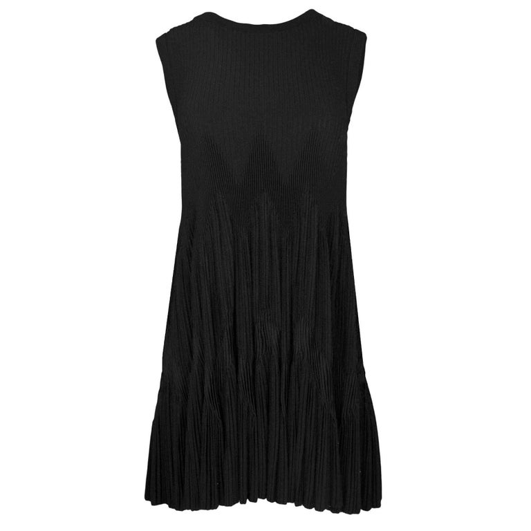 ALAIA Black Sleeveless Zigzag Trapeze Dress sz 42