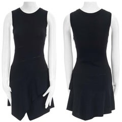 ALAIA black spiral ladder stitch seam asymmetric flared skirt bodycon dress FR38
