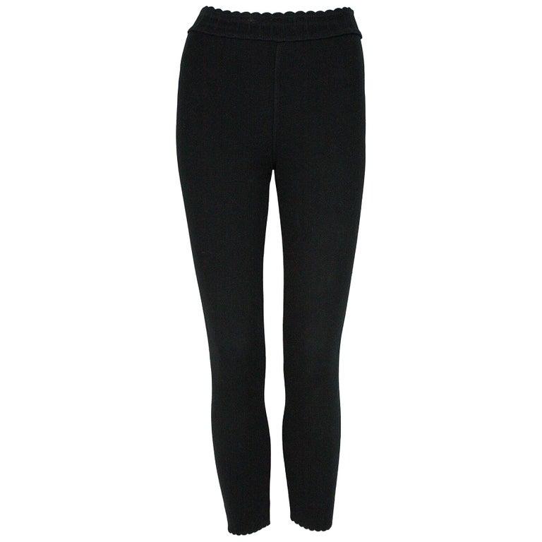 Alaïa Black Stretchy Knit Leggings For Sale