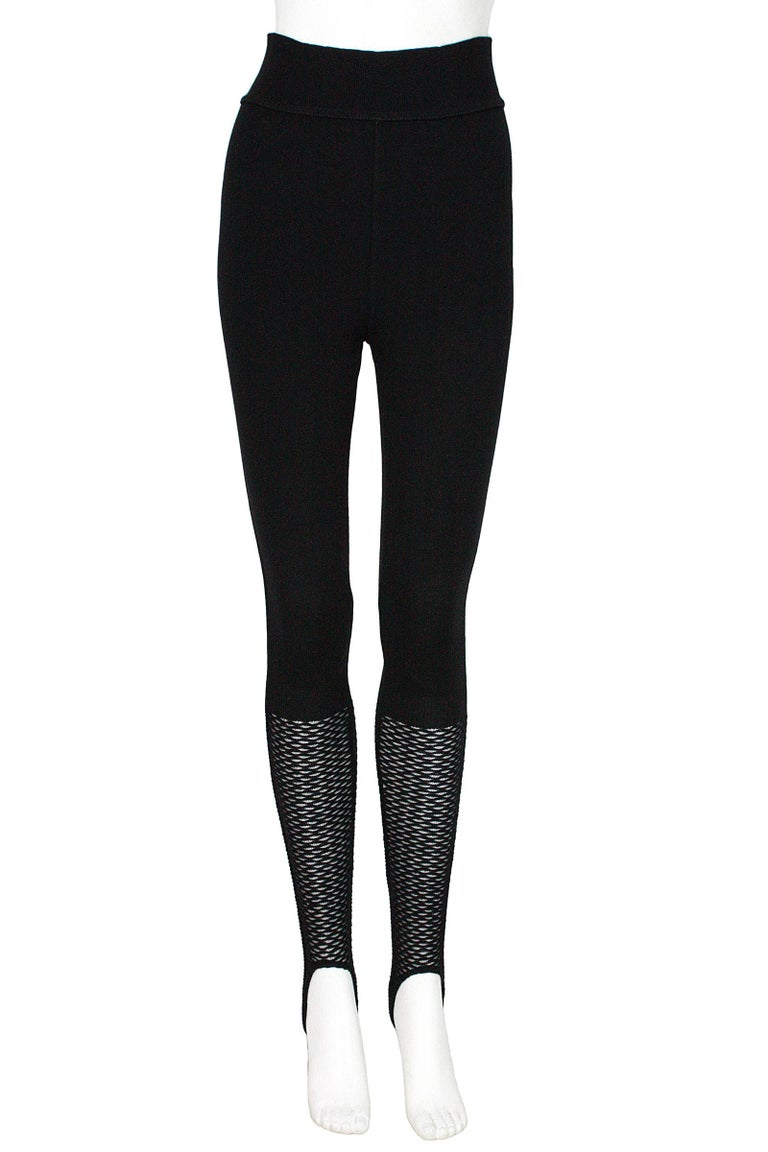 Alaïa stirrup leggings Black thick knit wool blend  Stretchy waistband  Pull-on style