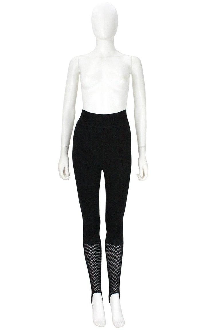 Alaïa Black Stretchy Knit Stirrup Leggings For Sale 1