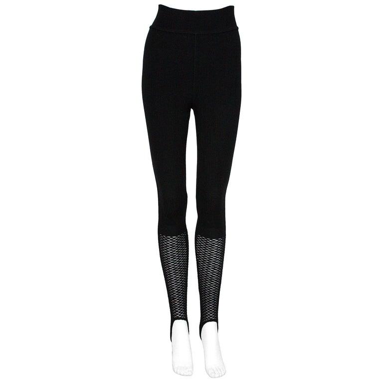 Alaïa Black Stretchy Knit Stirrup Leggings For Sale