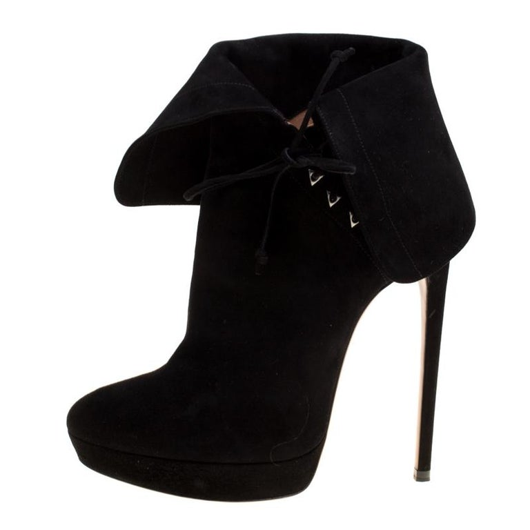 09f8f635d8fa Alaia Black Suede Ankle Cuff Side Lace Up Ankle Boots Size 40 For Sale