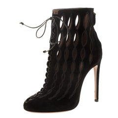 Alaia Black Suede Cut Out Boots Size 40