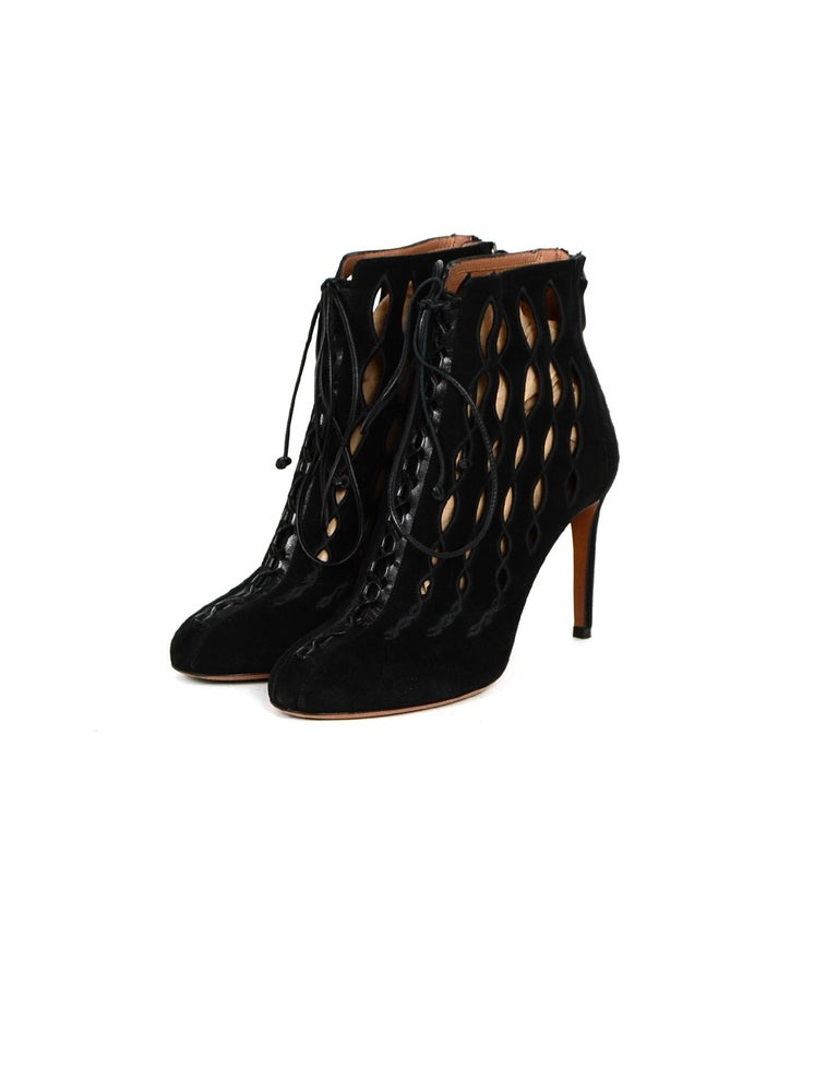 Alaia Black Suede Cut Out Lace-up Booties sz 40  Made In: Italy Color: Black Hardware: Silvertone Materials: Suede Closure/Opening: Back Zipper, Front laces Overall Condition: Excellent pre-owned condition, minor wear on the soles  Includes: Two