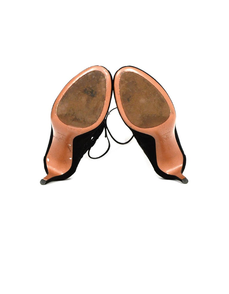 Alaia Black Suede Cut Out Lace-up Booties sz 40 For Sale 1
