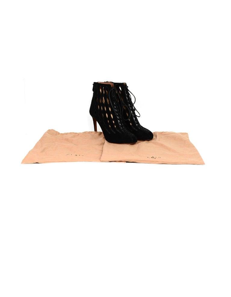 Alaia Black Suede Cut Out Lace-up Booties sz 40 For Sale 2