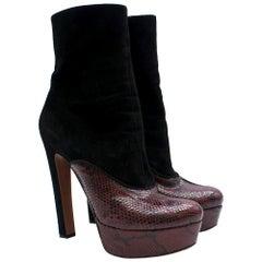 Alaia Black Suede & Leather Platform Ankle Boots - Size EU 38.5