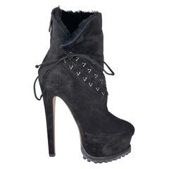Alaia Black Suede Platform Hiking Boots (38.5 EU) Ariana Grande