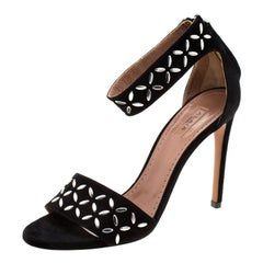 Alaia Black Suede Studded Ankle Strap Sandals Size 36