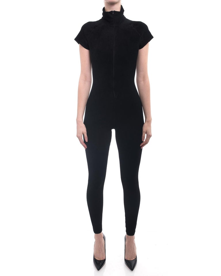 Alaia Black Velour Zip Front Jumpsuit / Catsuit.  From the Fall 2012 collection, and as seen on Rihanna. Original retail price $2660 Euros.  Pointed collar, short sleeves, invisible front zipper, stretchy velour. Marked size FR 38 (Alaia runs small
