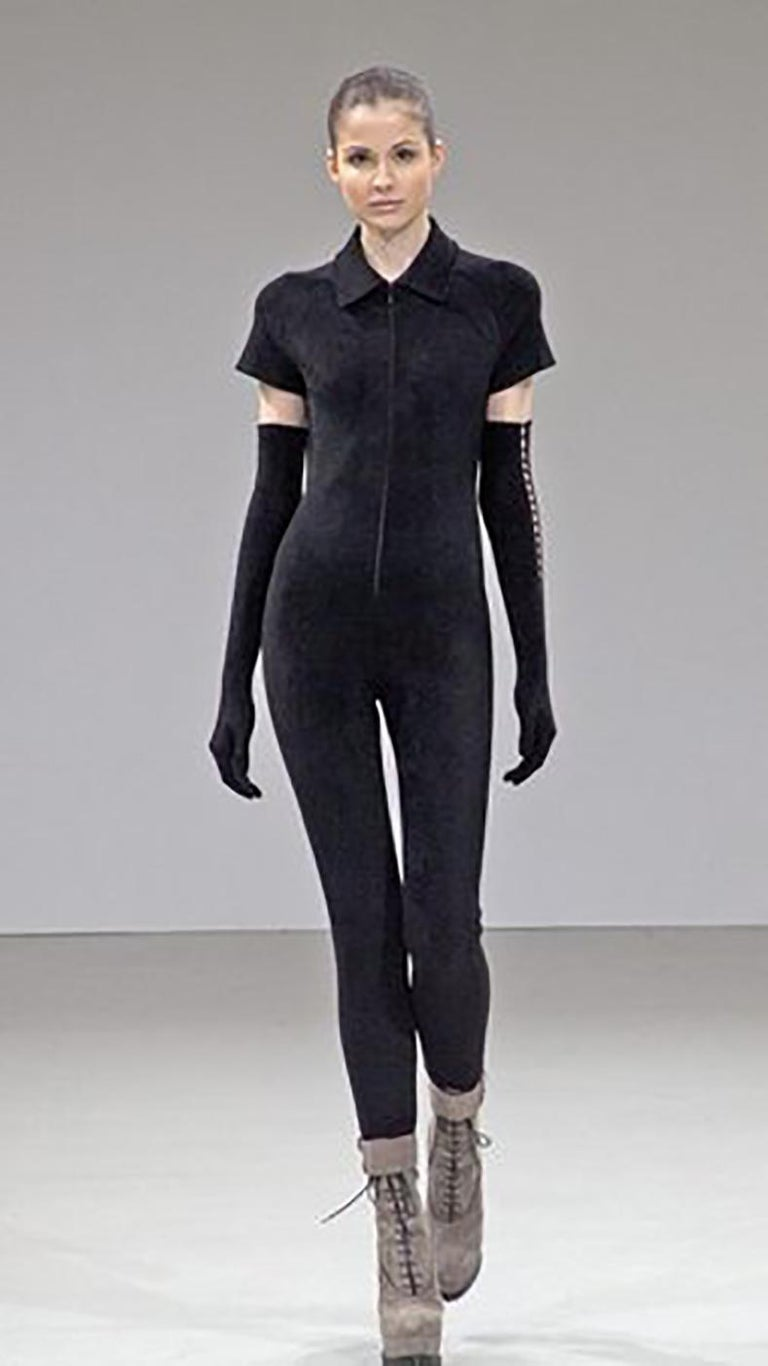 Alaia Black Velour Zip Front Jumpsuit / Catsuit - S In Excellent Condition For Sale In Toronto, ON