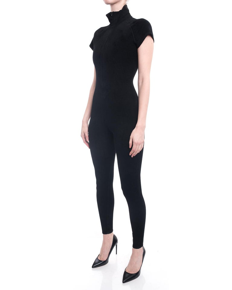 Women's Alaia Black Velour Zip Front Jumpsuit / Catsuit - S For Sale