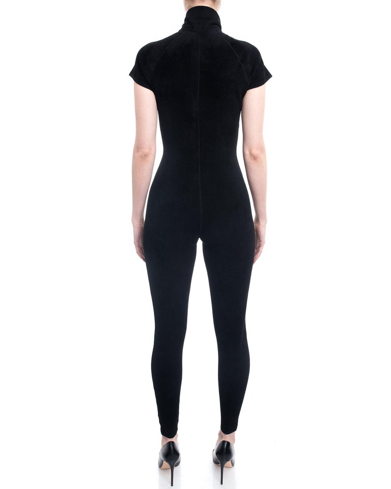 Alaia Black Velour Zip Front Jumpsuit / Catsuit - S For Sale 1