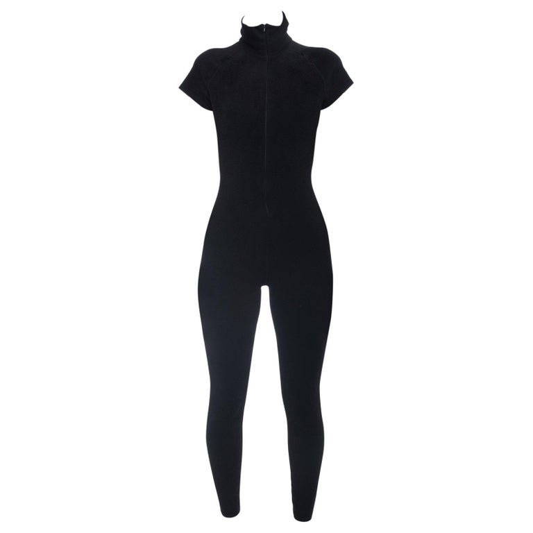 Alaia Black Velour Zip Front Jumpsuit / Catsuit - S For Sale