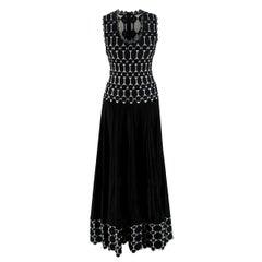 Alaia Black & White Sleeveless Knit Gown - US Size 4