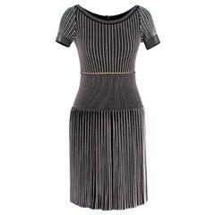 Alaia Black & White Striped Knit Skater Dress M 36