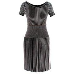 Alaia Black & White Striped Knit Skater Dress - Size US 4