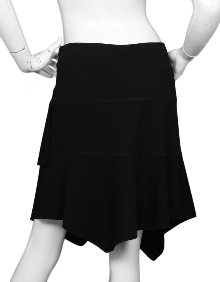 Alaia Black Wool Asymmetrical Skirt Sz Large In Excellent Condition For Sale In New York, NY