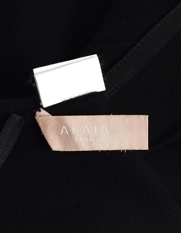 Women's Alaia Black Wool Asymmetrical Skirt Sz Large For Sale