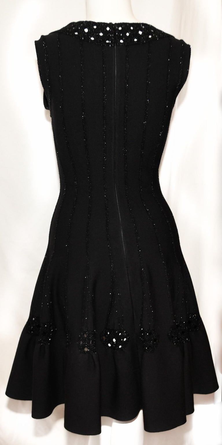 Alaia Black Wool Blend Punch Hole Decorated Sleeveless Dress In Excellent Condition In Palm Beach, FL